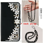 Bling Diamonds Leather Wallet Stand Phone Case With Crystals Strap For HUAWEI N