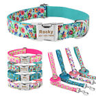 Dog Collar Leash Set Personalized Free Custom Engraved Name Nylon Floral S M L