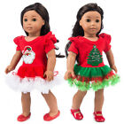Santa Stitching Dress Lace Pettiskirt For 18 Inch American Girl Doll Clothes