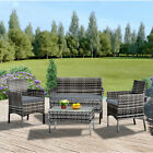 4 piece Rattan Garden Set Furniture Set Chair Sofa Table Set Garden Patio