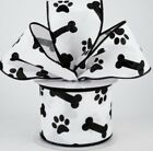 "White Wired Linen Paw Print Ribbon 2 1/2"" Black Paw Prints Dog Bones Paws 2.5"""