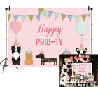 Pink Cute Puppy Pet Dogs Happy Paw-TY Backdrop Pink Girl Kid Birthday Background