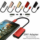 2 in1 USB Type C to 3.5 mm Headphone Jack Adapter AUX Cable Audio Convertor UK