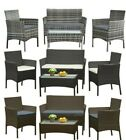 Garden 4 Piece Patio Rattan Wicker Furniture Set Table & Sofa  Black/brown /grey