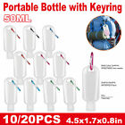 10/20X 50ml Empty Bottles + Key Ring Refillable Sanitizer Travel Small Container