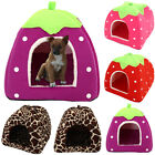Strawberry Pet Cat Dogs Fleece Washable Igloo Bed Pyramid Cozy Kennel Soft House