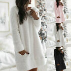 Womens Jumper Long Sleeve Pockets Shirt Ladies Fluffy Plain Loose Mini Dress