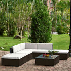 6 Pieces Rattan Outdoor Garden Furniture Patio Corner Sofa Set Wicker&steel Fram