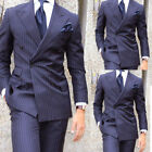 New Navy Blue Striped Men Suits Double Brested Formal Business Work Wear Tuxedos