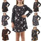 Girls Skull Bats Print Swing Dress Fancy Crew Neck Long Sleeve Halloween Costume