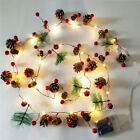 Pine Cone LED String Fairy Lights Red Berry Christmas Tree Garland Party Decor