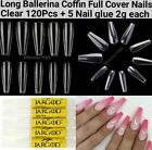 100Pcs Long Ballerina/Coffin/Long Almond/Oval/Full Cover Long Square Nail Tips