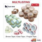 LONG LENGTH TAPE STRONG CLEAR / BROWN / FRAGILE 50mm X 66M PACKING PARCEL TAPE