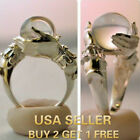 Lucky Crystal Rings Iceberg Clear Black Natural Hands Silver Ring Size 6 To 10