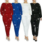 Fashion Women Solid Color Rhinestone Long Sleeve T-shirt Long Pockets Pants Set