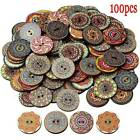 100X/lot Mixed Wooden 2 Holes Round Wood Sewing Buttons DIY Craft Scrapbooking