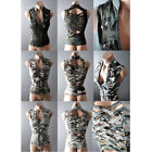 Steampunk Camo Camouflage Forest Cut Out Back Military Top Jacket Vest S M L