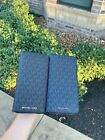 NWT Michael Kors Cooper Men's Signature Zip Around Tech Wallet Navy/Black