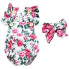 Infant Newborn Baby Girl Floral Romper Bodysuit Jumpsuit Headband Clothes Outfit
