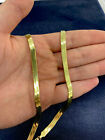 14K Yellow Gold Clad 925 Sterling Silver Flexible Herringbone 5.5mm Chain-Italy