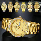 Waterproof Gold Men's Diamond Watch Classic Stainless Steel Quartz Business Gift