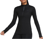 Nike Womens Pro Therma Warm Dri-FIT  -Zip Pullover Black CU4329-010 Sz Small