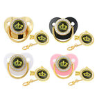 Golden Crown Baby Pacifier with Clips Chain Silicone Nipple Baby Shower Gift