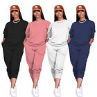 Women Fashion Round Neck Long Sleeve Solid Color Pockets Cute Tracksuit 2pcs