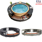 Spa Surround Poly Rattan Garden Massage Hot Tub Outdoor Furniture Black/Grey