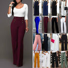 Women Wide Leg Palazzo Pants High Waist Office OL Flared Dress Trousers Plain