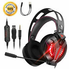 3.5mm LED Gaming Headset Headphone w/Adjustable Headhand for PS5/PS4/Xbox One/PC