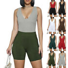 Womens Sleeveless V Neck Bodysuit Playsuit Sports Yoga Short Jumpsuit Rompers