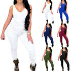 Women's Sleeveless V Neck Playsuit Romper Summer Casual Slim Jumpsuit Trousers
