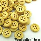 """Pkg of 20 NATURAL 4-hole Wood Ring Buttons 1/2"""" (13mm) OR 5/8"""" (15mm)Choose Size"""