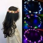 LED Flashing Glowing Flower Crown Headbands Party Hair Garland Wreath Jewelry