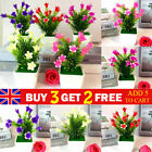 Artificial Fake Flowers  Plants In Pot Potted Garden Outdoor Floral Home Decor