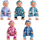 SOTOGO 5 Sets Baby Doll Clothes Outfits Jumpsuits with 5 Headbands for 14-16 Inc