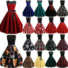 Ladies Sleeveless 1950s 60s Vintage Rockabilly Evening Party Pinup Swing Dress