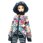 1/6 1/4 1/3 BJD Clothes Outfit Vampire Printing Hoodies+Striped Cropped Pants #1