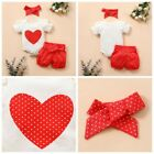 Infant Baby Girls Summer Outfit Short Sleeve Top Romper Shorts Bowknot Headband