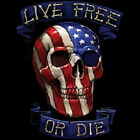 LIVE FREE OR DIE SKULL T-SHIRT AMERICAN FLAG ALL SIZES (160)