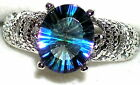 Women's Mystic Blue Topaz Rhodium Overlay Ring 70803