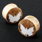 Pair Organic Wood Bone Inlay butterfly EAR PLUGS Gauges (NOG-158)