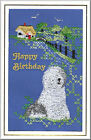Old English Sheepdog Birthday Card Embroidered by Dogmania