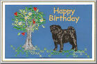 Pug Dog Birthday Card Embroidered by Dogmania
