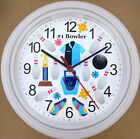 BOWLING Wall Clock Bowl Bowler Strike Spare Ball Lane 10 Pins Shoes Glove Bag