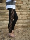 Petite Lace Insert Viscose Elastane Leggings BLACK UK 8 - 18