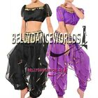 BELLY DANCE COSTUME SET BRA TOP HAREM GENIE PANTS BOLLYWOOD DANCING GOLD TRIMS