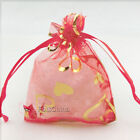 Gold Heart Red Organza Wedding Favour Gift Bags Pouches 7x9,9x12,13x17cm