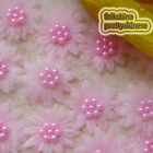 Pink Organza Flower With Cluster Beads Sewing Scrapbooking Appliques Trim JM7B